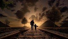 Père et fils sur des rails